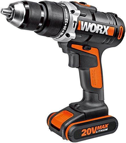 WORX WX372.1 Akku Schlagbohrschrauber Set mit 20V Schlagbohrschrauber, Li-Ion Akku, Schnell-Ladegerät, Doppelbit & Koffer – 50Nm, 2-Gang-Getriebe & LED-Licht - zum Schrauben, Bohren & Schlagbohren