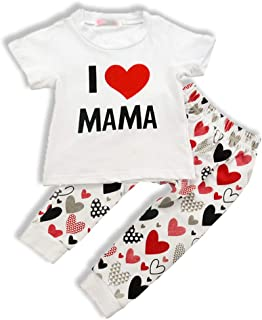 My First Father's Day Outfit Toddler Baby Girl Pant Set I Love PAPA T-Shirt + Heart Pant Clothes Set