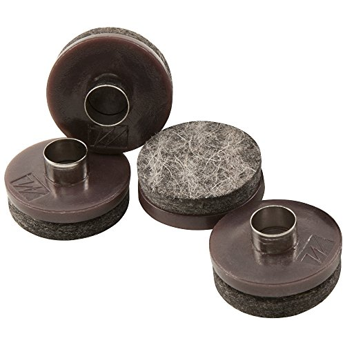 """Nail-On Heavy Duty Felt Pads for Wood Furniture and Hard Floor Surfaces – Protect your Hard Floor Surfaces from Scratches, 1-1/2"""" Round Furniture Protectors, Walnut Brown (4 Pieces)"""