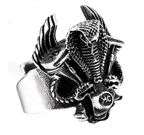 HIJONES Gótico Rey Serpiente Cobra Anillo Biker Guerrero para Hombre Acero Inoxidable Estilo Punk Plata Tamaño 19