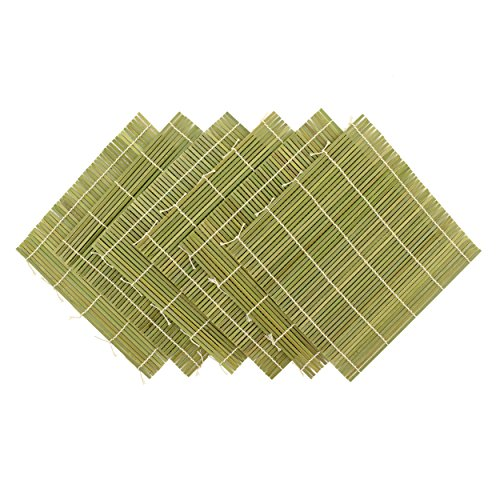 "BambooMN 6X Green Bamboo Sushi Making Rolling Mats 9.5"" x 9.5"" (Set F)"