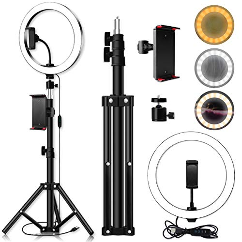 DERCLIVE Anillo de Luz LED Regulable LED Live Video Ring Light Set con Clip de Tableta Trípode 3 Colores