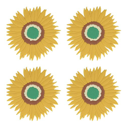 Trivets For Hot Pots And Pans, Kitchen Gadgets Sunflower Silicone Pot Holders -Multi-Use Great Heat Resistant Hot Pads For Kitchen Table, Dishwasher Safe (4 PACK)