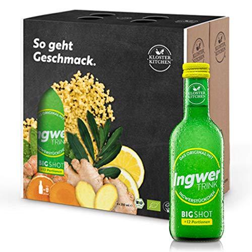 6er Pack Testsieger Kloster Kitchen Bio IngwerTRINK Bigshot 6x 250ml, je 12x Ingwer Shot, über 40g Ingwerstückchen, 12 Shots in EINWEG Glasflaschen, vegan