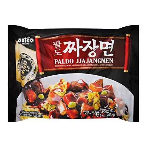 Paldo Fun & Yum Jjajangmen Instant Noodles, Pack of 4, Brothless Chajang Ramen with Savory & Sweet Black Bean Sauce, Oriental Style Korean Ramyun, Soupless K-Food, 203g x 4