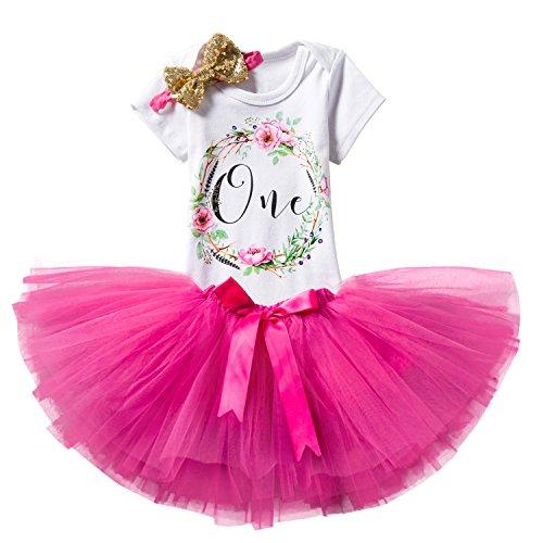 NNJXD Mädchen Newborn Crown Tutu 1. Geburtstag 3 Stück Blume Outfits Strampler + Rock + Stirnband Größe 1 Jahre Rosa