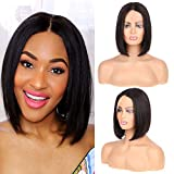 Huarisi T Part Wig Straight Hair 10' Short Brazilian Straight Human Hair Wigs 150% Density Lace Front Wigs Glueless Machine Made Bob Wigs For Black Women Blunt Cut