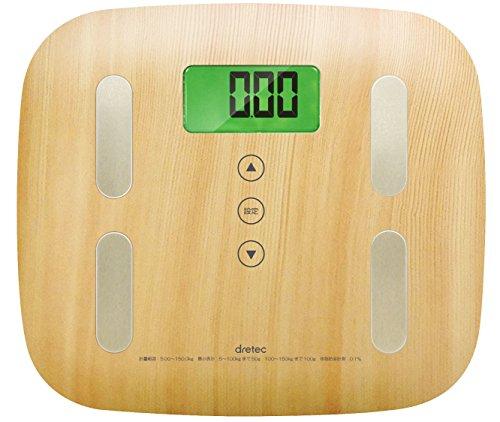 dretec(ドリテック) 体重計 体組成計 ヘルスメーター ボディスケール デジタル 体脂肪 木目 BS-244NW(ナチュラルウッド)