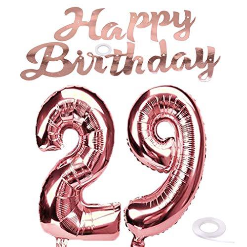 SNOWZAN Globo de 29 cumpleaños, color oro rosa, niña, número 29, globo gigante de helio, número 29, globos con números grandes de 29 años, XXL para fiesta de cumpleaños