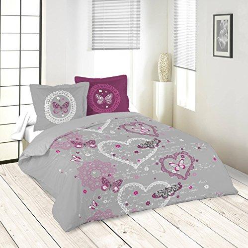 Lovely Casa Illusion Housse DE Couette 240X220 CM + 2 TAIES 63X63 CM, Coton, Gris