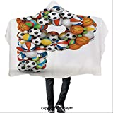 SCOCICI Polyester Hooded Blankets,Conceptual Typography Design Alphabet and Sports Theme Font Type with Many Balls Decorative,for Adults and Children(59.05x43.30 inch),Multicolor