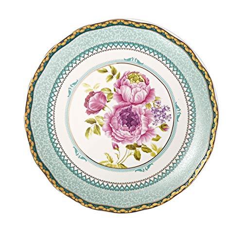 YFFSBBGSDK Plato de Cena Plato de cerámica Hogar de 8 Pulgadas Retro Comida Occidental Florete de Flores Vajilla de Porcelana para Hornear