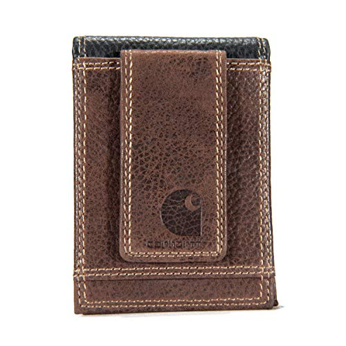 Carhartt Men's Standard Front Pocket Wallet, Leather Two-Tone (Brown & Black), One Size
