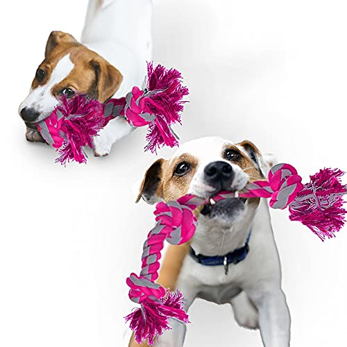 """Meric Heavy Duty Dog Rope Chew Tug Toy, 19.5"""" Long, Pink and Heather Grey, 2 Pcs per Pack"""