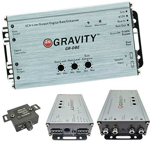 Gravity GR-DBE Two Channel Line-Output Converter 400 Watts Signal/CH with Digital Bass Enchancer with Knob/Dual Amplifier / 9.5 Volt Pre-Amp Outs/Level Matching Controls