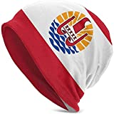 Hombres y Mujeres Gorro Sombrero Polinesia Francesa Bandera Novela Invierno Cálido Gorro de Punto Negro-HY1-8JM