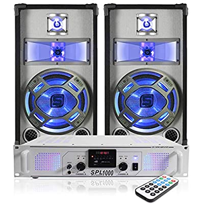 """Skytec 2x Blue LED 10"""" Disco PA Speakers + DJ Amplifier + Cable System 800W"""