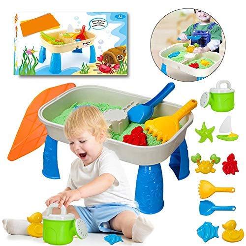 chlius Juego de mesa de agua de arena con tapa y 9 accesorios, juego divertido para niños de simulación de juego de juguetes de playa para playa de arena, piscina o bañera 41 x 17 x 25,5 cm
