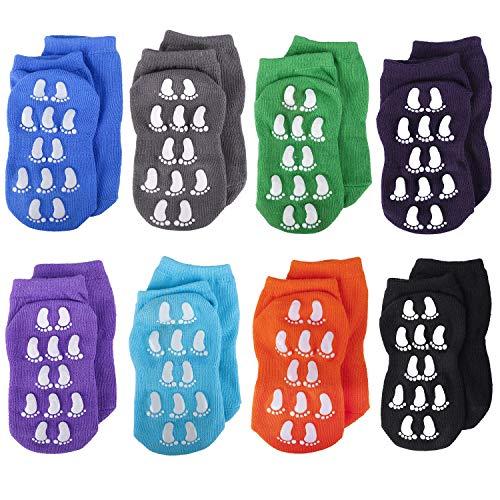 MaoXinTek Calcetines Antideslizantes para Niños Pequeños Algodón Lindo con Puños, Calentar 8 Pares de Zapatillas Calcetines de Piso de Corte Bajo con Silicona para 1-3 años de Bebés y Niñas
