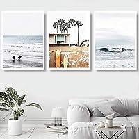 スカンジナビアスタイルのサーフポスターとプリントリビングルームの海のビーチの壁の写真ココナッツツリーキャンバスプリント旅行風景アート| 40x50cmx3-(フレームなし)