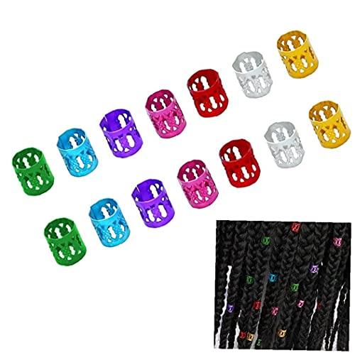 Outils à cheveux, bobine de cheveux en aluminium 100pcs dreadlocks réglable molette métallique robuste poignets tresses tresses décorations de cheveux coloré