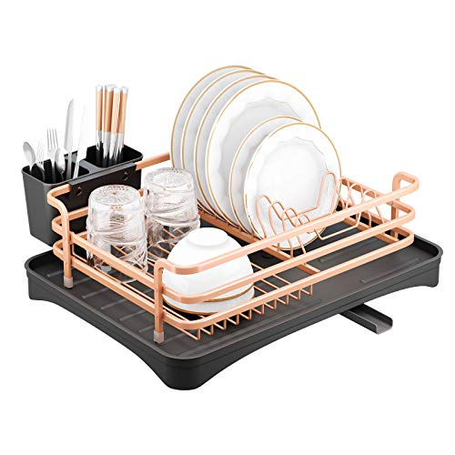 SMHOUSE Dish Drying Rack, Never Rust Sink Dish Drying Rack with Utensil Holder, Removable Plastic Drainer Tray with Adjustable Swivel Spout