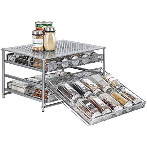 Spice Rack Organizer for Cabinet 3 Tier 30Bottle Spice Drawer Storage Seasoning Shelves for Kitchen Pantry Countertop Metal Silver