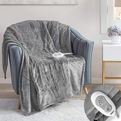Degrees Of Comfort Electric Heated Throw Blanket Grey 50 x 60   Lap Blanket for Office Or Home   3 Heat Settings W/ 2 Hour Auto Shut Off, UL Certified & Low EMF   Machine Washable