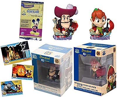 Peter Fly & Hook Disneyland Resort Attractions Figure Peter Pan's Flight Captain Mini Theme Park Ride Bundled with Anniversary Trading Collector Cards Pack 2 Items