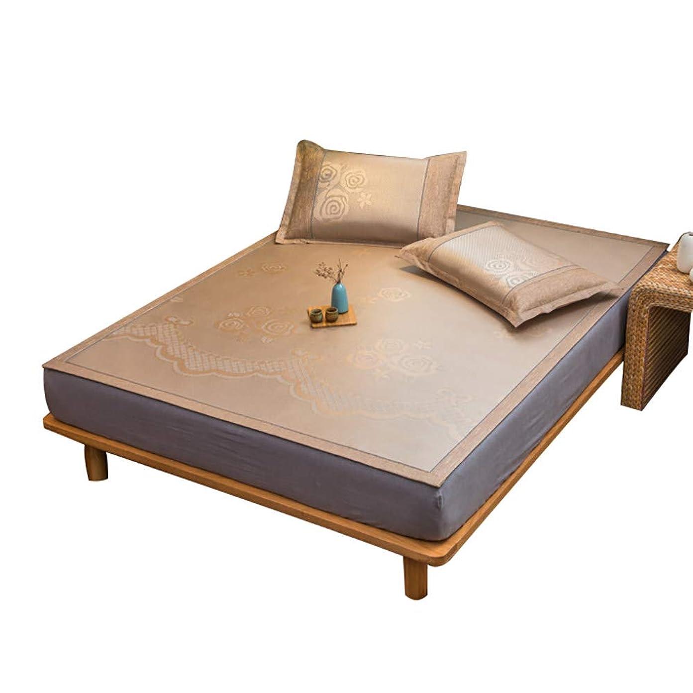 提供するまたは鬼ごっこ竹マットベッド/夏冷却寝台/籐マットレス、竹とアイスシルク素材、折りたたみリバーシブルデザイン,花柄プリント,Brown-B-150×200cm(59.1×78.7in)