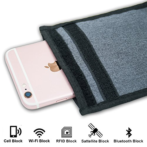 EMF Protection Faraday Bag for All Cell Phones & Protector for Car Key Fobs - Blocks Harmful Radiation & Prevents Tracking, Cloning, Hacking and Car Theft