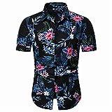 Shirt Ocio Hombre Transpirable con Cuello Kent Hombre Moda De Verano Botón con Estampado Vintage Tapeta Manga Corta Hombre Camisa Vacaciones Negocios En Hawaii Hombre Shirt Playa F-C35 XL