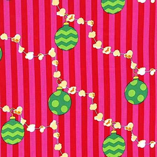 Michael Miller Christmas Fabric, Popcorn Garland, 1 x pre-Cut Fat Quarter, 100% Cotton Material, Crafts