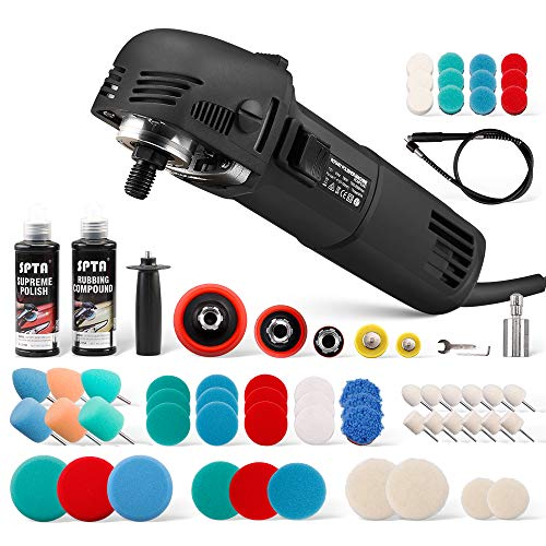 SPTA Mini Buffer Polisher, 1Inch/2Inch/3Inch Car Polisher Sets, 6-Level Variable Speed, with 54Pcs Foam Polishing Buffing Pads, and 2Pcs Rubbing Compound for Car Detailing Polishing