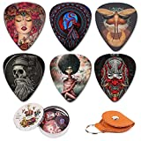 Guitar Picks 12 Medium Pack with Leather Picks Holder and Tin Box,Unique Artistic Celluloid Guitar Pick for Bass Electric Guitar Acoustic Guitar Lovers Gift (Mix-2)