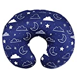 Minky Nursing Pillow Cover Nursing Pillow Slipcover Soft Fits Snug On Infant Nursing Pillows for Breastfeeding Moms (Navy Blue, Stars and Clouds)