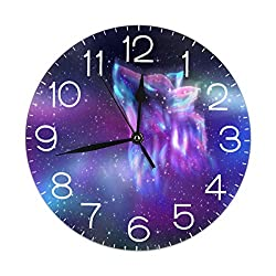 Dujiea Wolf Galaxy Round Wall Clock Silent Non Ticking Battery Operated 9.5 Inch for Student Office School Home Decorative Clock Art