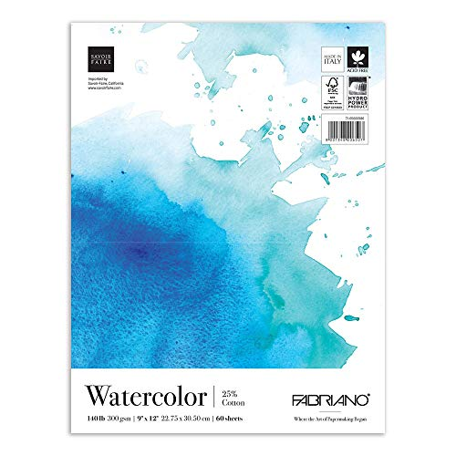 Fabriano Fat Watercolor Pad, 9 x 12 Inches, 140 lb, 60 Sheets