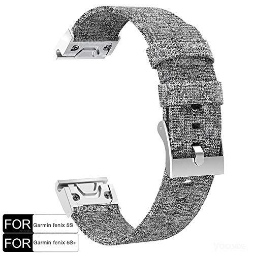 Fenix 5S /Fenix 5S Plus Watch Band,YOOSIDE 20mm Quick Fit Woven Nylon Canvas Watch Band Strap for Garmin Fenix 5S /Fenix 5S Plus,Grey
