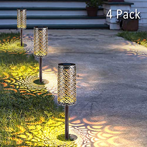 Solar Path Lights Metal Lanterns Pathway Auto On/Off Bright Warm White LED Outdoor Waterproof Landscape Lighting for Patio, Garden, Yard, Walkway (4 Pack)