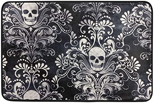 Bath Mat Gothic Skull Damask Scary Halloween Doormat Indoor Outdoor Entrance Floor Welcome Mats Bathroom Rug 18' X 30'