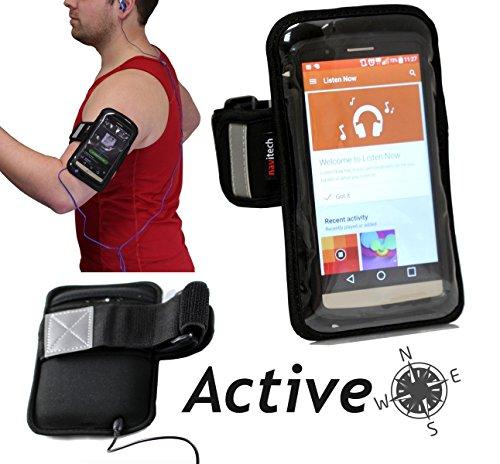 Navitech wasserdicht Schwarz Sport/Fitness / Jogging/Radfahren / Skifahren Armband Tasche Oberarmtasche Schutz Hülle Etui Case für Das Nokia Lumia 950 XL 5.7