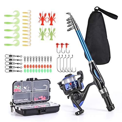 Lixada Fishing Rod Reel Combo Full Kit 1.3m/1.5m Telescopic...