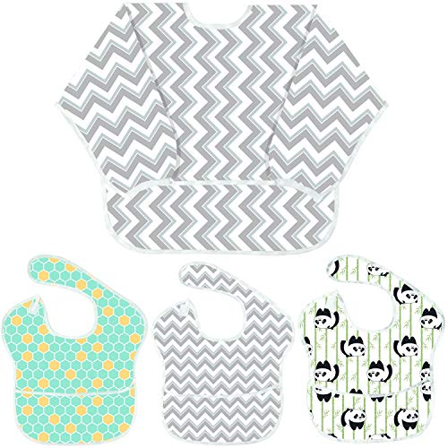 Youngever 4 Pack Baby Bibs, Baby Bibs with 1 Pack Full Coverage Sleeved Bib and 3 Pack Bibs with Pocket, 6-24 M (Gray Wave)