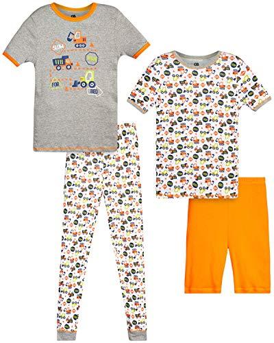 Only Boys Pajamas – 100% Cotton Snug Fit Sleep Shorts, Joggers, and Short Sleeve T-Shirt Pajama Set, Size Medium - 8, Orange Trucks