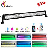 Nicoko 32' 180w Straight Offroad led Light bar with Chasing RGB Halo 10 Solid Colors Over 72 Modes Backlighting Decoration Driving Working Lights Fog Lamp SUV Ute ATV Truck 4x4 Boat Wiring Harness