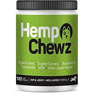 Hemp Chewz Hip & Joint Supplement for Dogs – Infused with 100% Organic Hemp Oil + Glucosamine Chondroitin w/Turmeric, MSM for All-Natural Pain Relief & Mobility Support – 120 Soft Chews