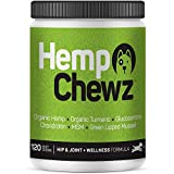 Hemp Chewz Dog Joint Supplements – Organic Dog Treats Infused with Hemp Oil for All-Natural...