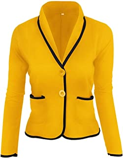 ZCLAU Women's Casual Jacket Short Section of Small Suit Jacket Female (Color : Yellow, Size : 3XL)