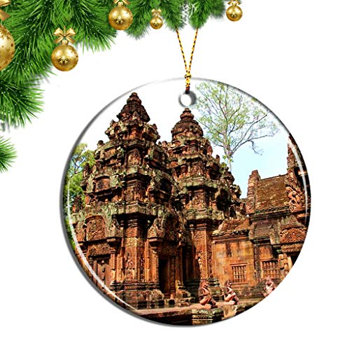Hqiyaols Ornament Kambodscha Banteay Srei Angkor Wat SIEM Reap Weihnachten Ornamente Hängende Verzierung Keramik Souvenir Stadt Reise Geschenk Baum Tür Fenster Decke Zierschmuck Deko
